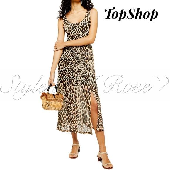 Topshop Dresses & Skirts - NWT's Animal Print Midi Dress with Slit